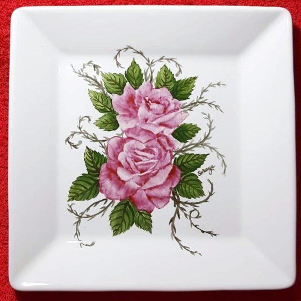 soraya pamplona porcelanas pintadas prato fundo de jantar de rosas