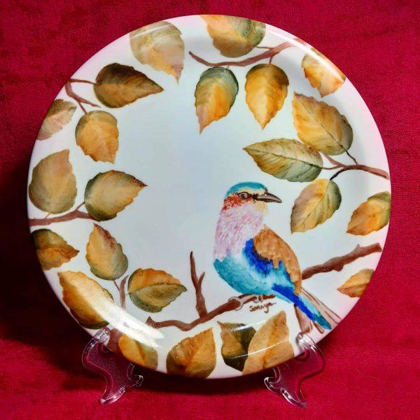 soraya pamplona porcelana prato raso de porcelana passarinho outono