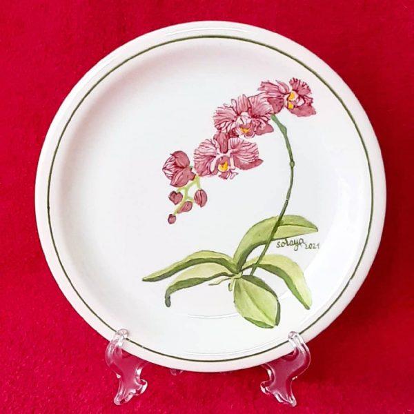 soraya-pamplona-porcelanas-pintadas-prato-de-sobremesa-orquidea-rosa-botanica